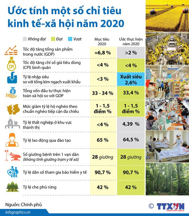 Ước tính một số chỉ tiêu kinh tế - xã hội năm 2020 - Ảnh 1.