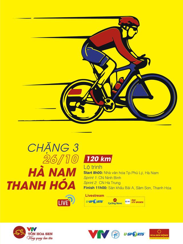 Chặng 3 Giải xe đạp VTV Cúp Tôn Hoa Sen 2020: Hà Nam – Thanh Hoá (120 Km) - Ảnh 1.