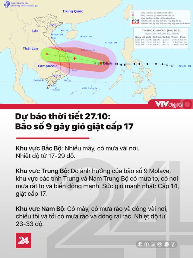 Tin nóng đầu ngày 27/10: Bão số 9 mạnh cấp 13, dự báo tăng cấp trong 24h tới - Ảnh 1.