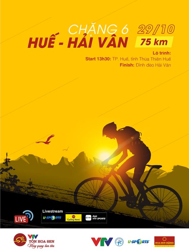 Chặng 6 Giải xe đạp VTV Cúp Tôn Hoa Sen 2020: TP Huế - đèo Hải Vân (75 Km) - Ảnh 1.