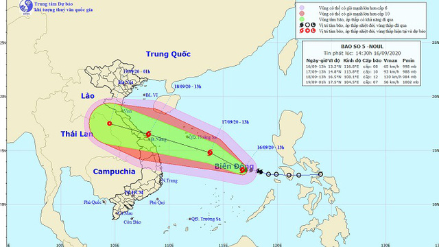 The projected path of Storm Noul. (Photo: NCHMF)
