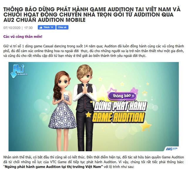 Audition - Tựa game đình đám một thời ngừng hoạt động sau 14 năm gắn bó tại Việt Nam - Ảnh 1.