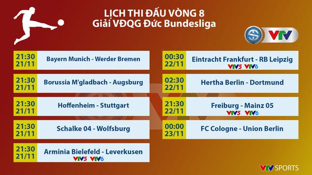 Lịch thi đấu và trực tiếp vòng 8 Bundesliga: Tâm điểm Frankfurt - RB Leipzig! - Ảnh 1.