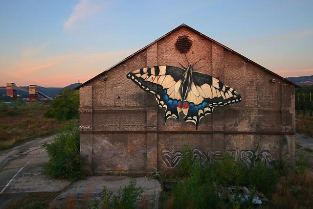 """Kỳ ảo """"bươm bướm"""" siêu thực xếp kín các tòa nhà - Ảnh 1."""