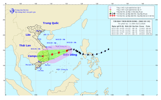 Bão số 10 hướng vào Nam miền Trung, gây mưa từ ngày 4/11 - Ảnh 1.