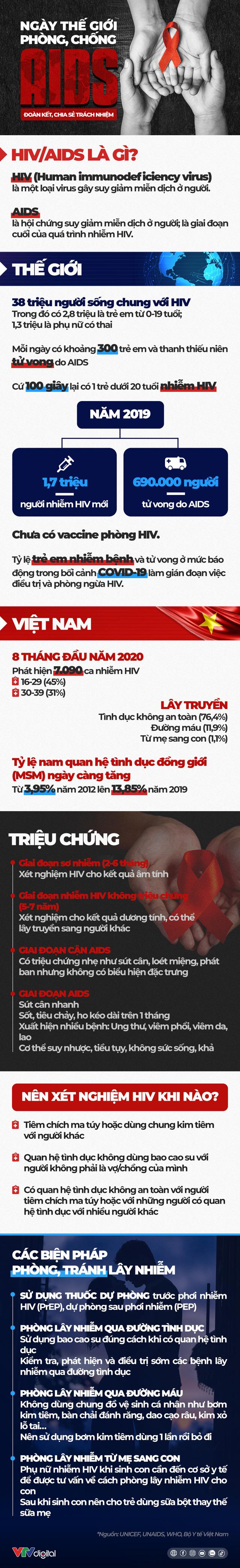[INFOGRAPHIC] Ngày thế giới phòng, chống AIDS: Đoàn kết, chia sẻ trách nhiệm - Ảnh 1.