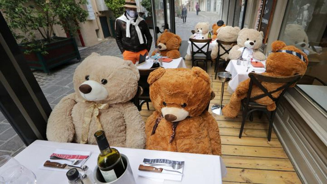 Ế ẩm vì COVID-19, nhà hàng ở Pháp thay thực khách bằng gấu Teddy - Ảnh 1.