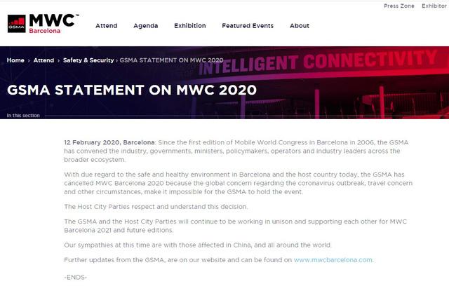 Triển lãm di động thế giới MWC 2020 chính thức bị hủy vì COVID-19 - ảnh 1
