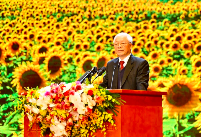 Party General Secretary and President Nguyen Phu Trong speaks at the meeting. (Photo: NDO/Duy Linh)