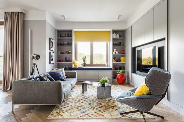 Ngôi nhà trang trí nội thất màu xanh và vàng lạ mắt - Ảnh 1.