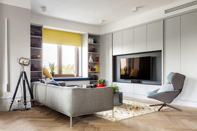 Ngôi nhà trang trí nội thất màu xanh và vàng lạ mắt - Ảnh 3.