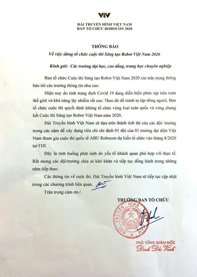 Dừng tổ chức vòng loại và vòng chung kết Robocon Việt Nam 2020 - Ảnh 1.