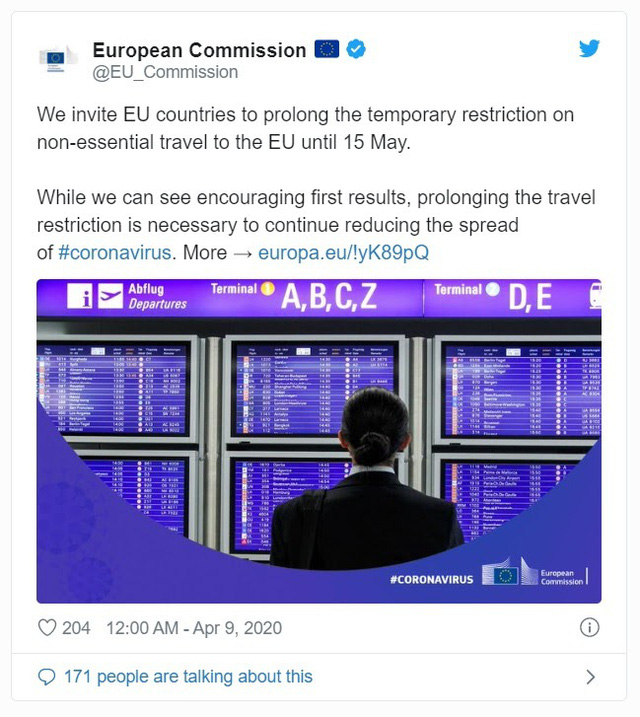 """Du lịch châu Âu có thể sẽ """"đóng băng"""" đến tháng 9 - Ảnh 1."""