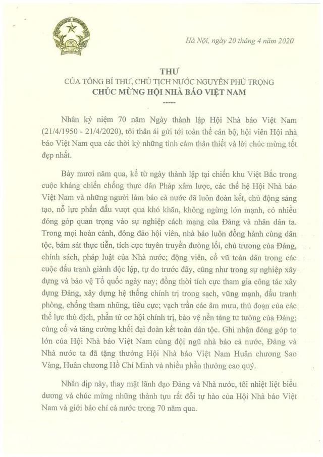 Thư chúc mừng của Tổng Bí thư, Chủ tịch nước Nguyễn Phú Trọng nhân kỷ niệm 70 năm Ngày thành lập Hội Nhà báo Việt Nam - Ảnh 1.