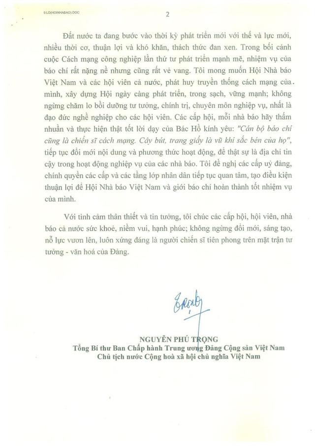 Thư chúc mừng của Tổng Bí thư, Chủ tịch nước Nguyễn Phú Trọng nhân kỷ niệm 70 năm Ngày thành lập Hội Nhà báo Việt Nam - Ảnh 2.