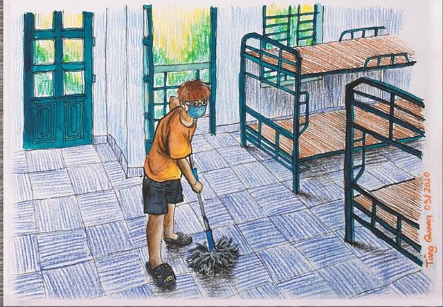 Du học sinh gây sốt với bộ tranh ký họa ở khu cách ly: Chúng tôi được đối xử như người thân trong gia đình - Ảnh 6.