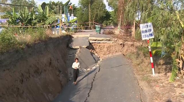 Sụt lún kinh hoàng vùng ngọt hóa Cà Mau - Ảnh 1.