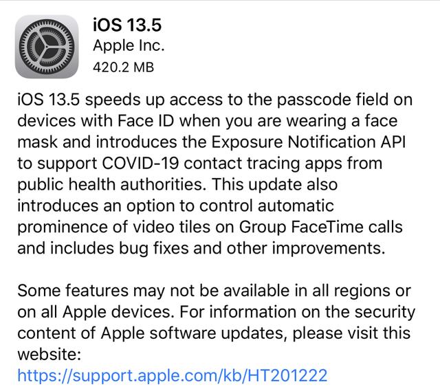 iOS 13.5 ra mắt: Mở iPhone nhanh hơn ngay cả khi đeo khẩu trang - ảnh 1