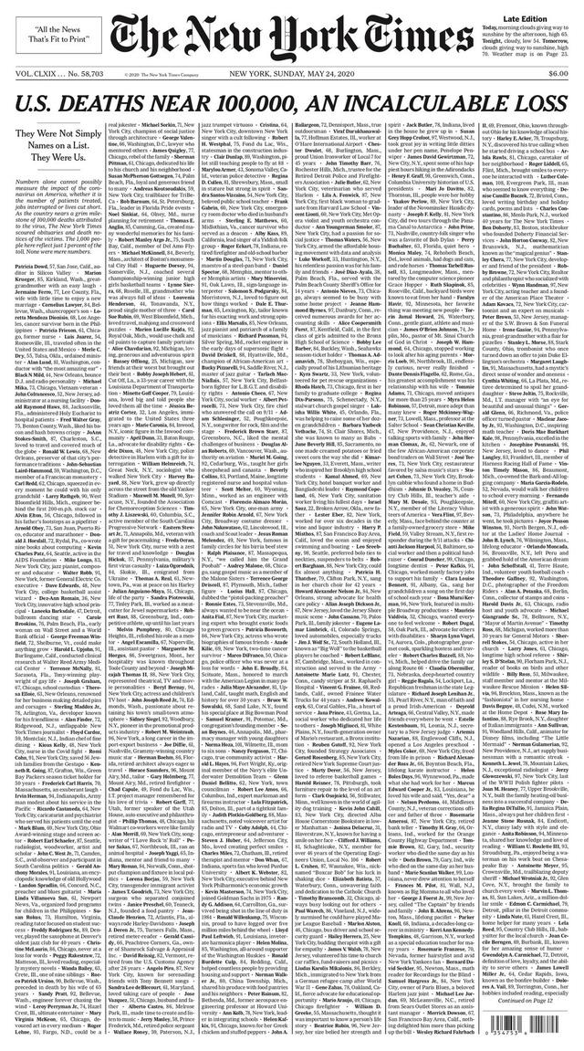 Ý nghĩa đặc biệt của trang nhất 1000 cáo phó gây choáng trên  New York Times - Ảnh 1.
