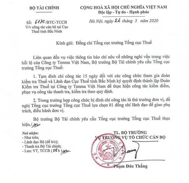 Đình chỉ 5 công chức thuế liên quan đến vụ việc Công ty Tenma Việt Nam - ảnh 1
