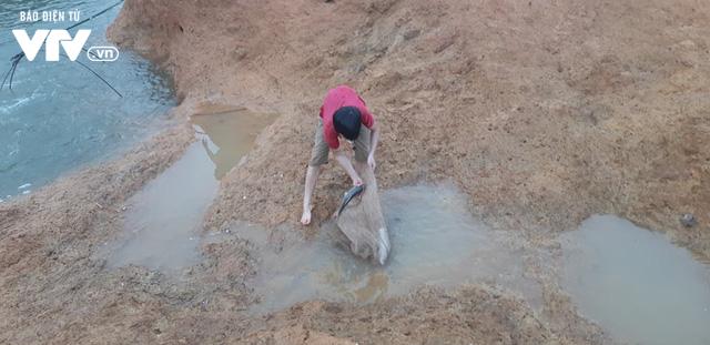 Tranh thủ... vỡ đập chứa nước ở Phú Thọ, người dân đi bắt cá - Ảnh 6.