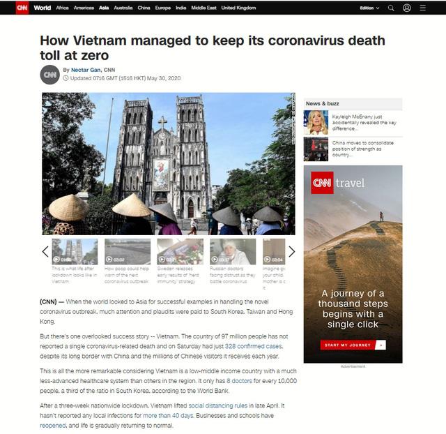 CNN ra bài viết ca ngợi công tác chống dịch COVID-19 tại Việt Nam - Ảnh 1.