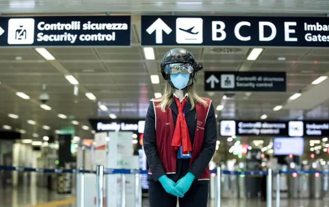 Mũ bảo hiểm robot kiểm tra hành khách tại sân bay - Ảnh 1.