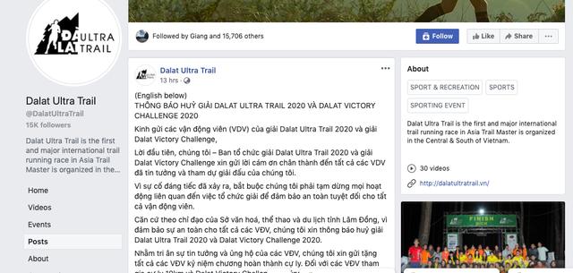 Một VĐV tử vong, BTC Dalat Ultra Trail hủy tất cả các cự ly thi đấu - Ảnh 1.