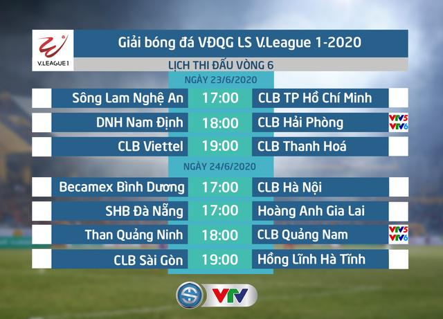 Lịch thi đấu và trực tiếp vòng 6 V.League 2020: Tâm điểm DNH Nam Định – CLB Hải Phòng, Than Quảng Ninh – CLB Quảng Nam - Ảnh 1.