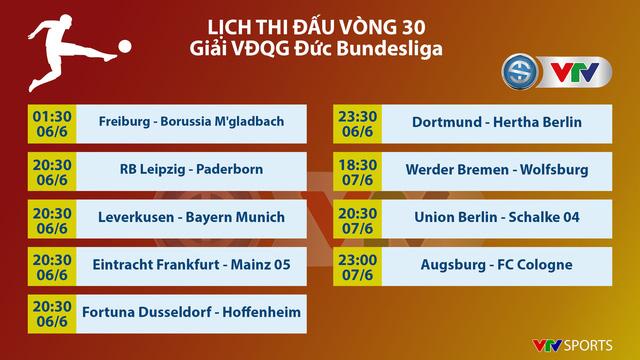 Lịch thi đấu vòng 30 VĐQG Đức Bundesliga: Tâm điểm màn so tài Leverkusen - Bayern Munich - Ảnh 1.