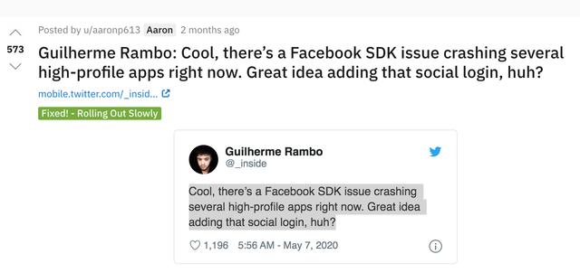 Sự cố trên SDK Facebook gây ra lỗi văng hàng loạt ứng dụng trên iPhone - Ảnh 1.