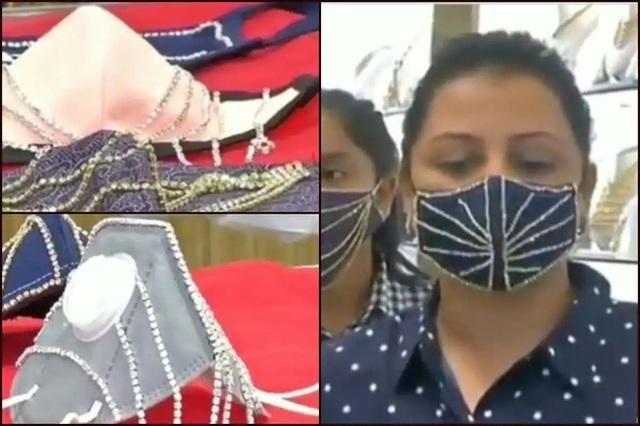 """""""Nở rộ"""" khẩu trang đính kim cương, vàng tại Ấn Độ - Ảnh 1."""