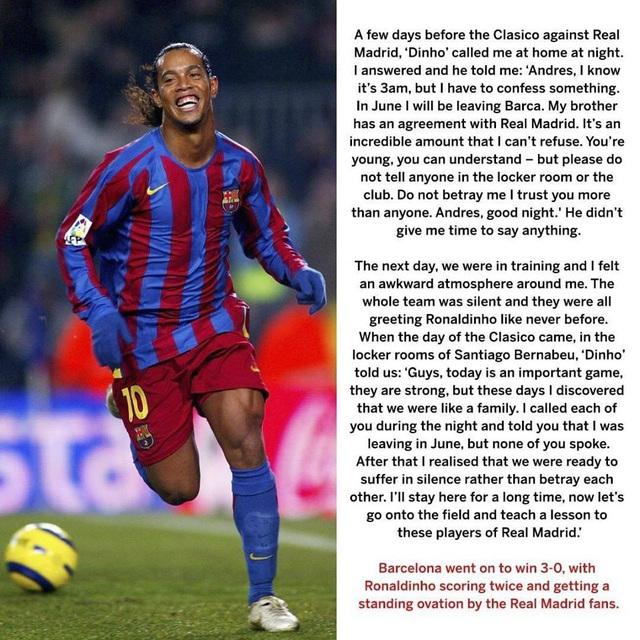 Iniesta tiết lộ bí mật khó tin trước ngày Ronaldinho chói sáng tại Bernabeu - Ảnh 1.