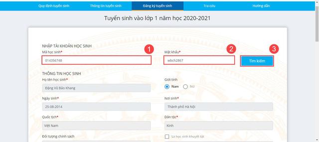 Hướng dẫn phụ huynh đăng ký tuyển sinh đầu cấp trực tuyến tại Hà Nội - Ảnh 3.