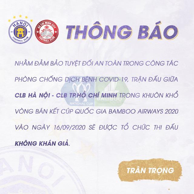 Trận CLB Hà Nội - CLB TP HCM diễn ra trên sân không khán giả - Ảnh 1.
