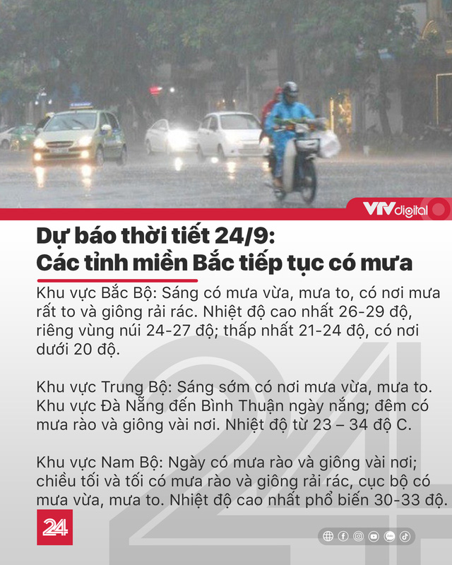 Tin nóng đầu ngày 24/9: Sẽ còn xuất hiện 5-7 cơn bão trên biển Đông - Ảnh 2.