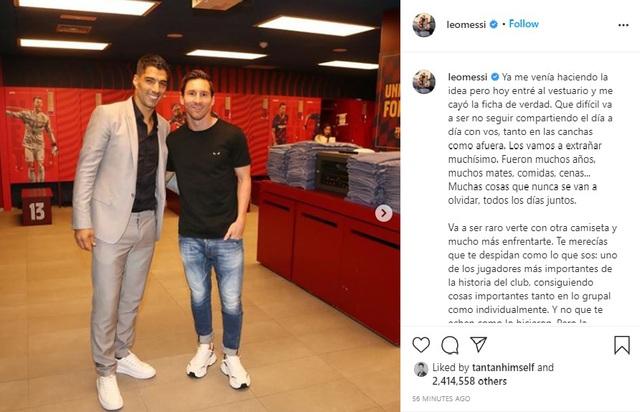 Messi viết tâm thư chia tay Suarez và không quên chỉ trích Barcelona - Ảnh 1.