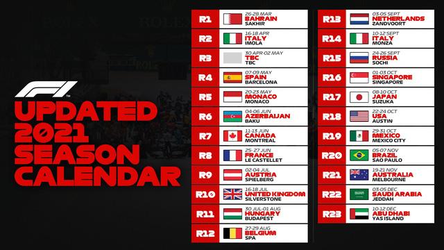 Đổi lịch thi đấu mùa giải F1 2021: Mở màn tại Bahrain GP, lùi lịch Australian GP, bỏ chặng Thượng Hải - Ảnh 1.