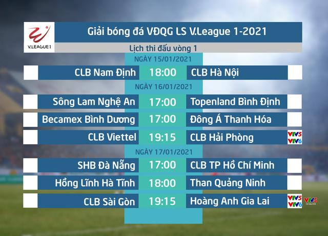 Lịch thi đấu và trực tiếp vòng 1 V.League 2021: Tâm điểm CLB Sài Gòn – Hoàng Anh Gia Lai, CLB Viettel – CLB Hải Phòng - Ảnh 1.