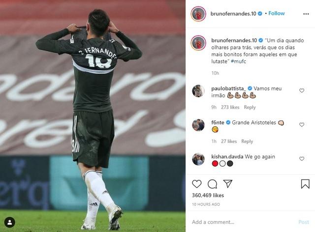 Bruno Fernandes thể hiện tinh thần rực lửa sau trận hòa Liverpool - Ảnh 1.