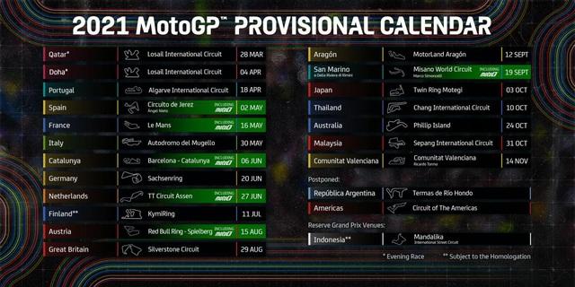 MotoGP cập nhật lịch thi đấu mới ở mùa giải 2021 - Ảnh 1.