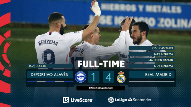 Vòng 20 La Liga: Hazard và Benzema lập công, Real thắng đậm Alaves - Ảnh 3.