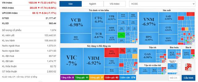 VN-Index giảm mạnh nhất lịch sử - Ảnh 1.