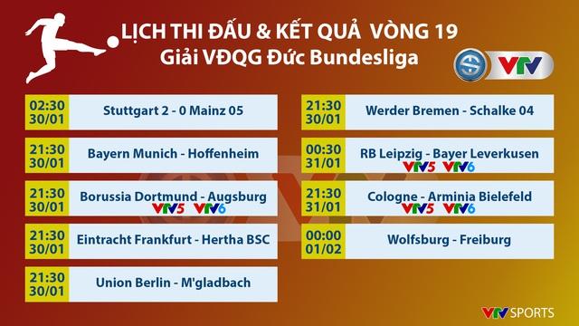 Lịch thi đấu và trực tiếp Bundesliga vòng 19 hôm nay: Tâm điểm Dortmund - FC Augsburg, RB Leipzig – Leverkusen - Ảnh 1.