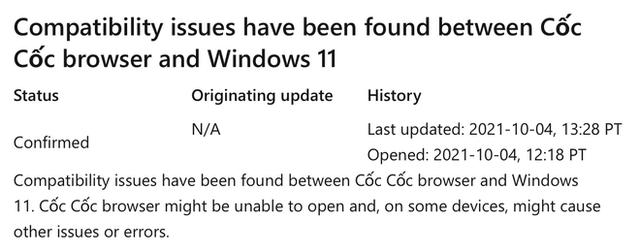 Trình duyệt Cốc Cốc gặp vấn đề với Windows 11 - Ảnh 1.