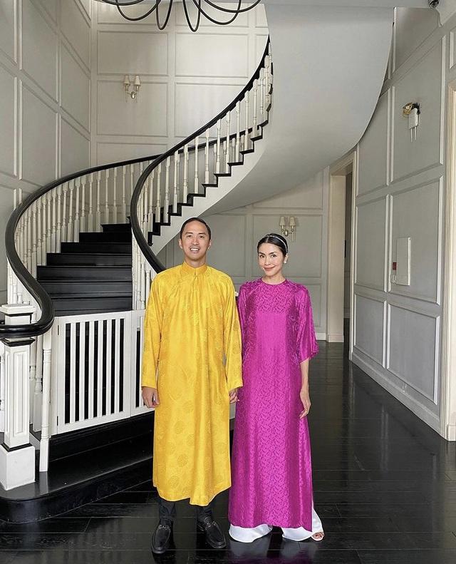 Hà Hồ khoe ảnh Tết siêu đáng yêu của gia đình, Hà Tăng truyền thống với áo dài hồng - Ảnh 3.