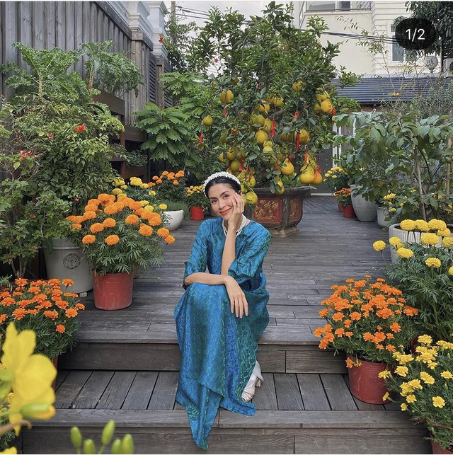 Hà Hồ khoe ảnh Tết siêu đáng yêu của gia đình, Hà Tăng truyền thống với áo dài hồng - Ảnh 5.