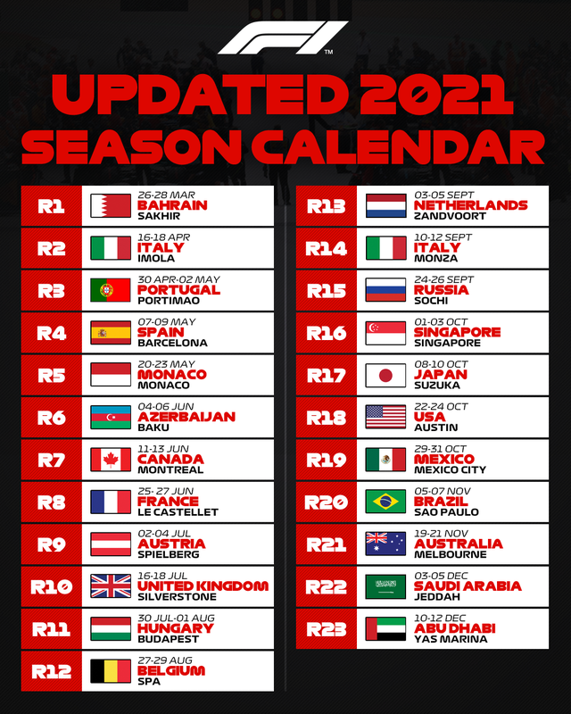 F1 chốt lịch thi đấu trong năm 2021 - Ảnh 2.