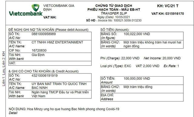 Hòa Minzy ủng hộ quê hương Bắc Ninh 100 triệu chống COVID-19 - Ảnh 1.