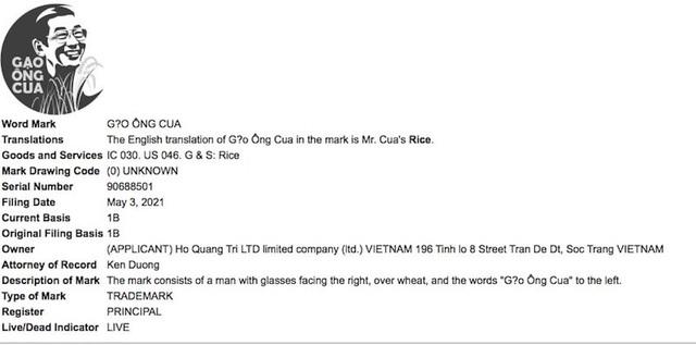 Gạo ST25 được đăng ký tại Mỹ với nhãn hiệu Gạo Ông Cua - ảnh 1